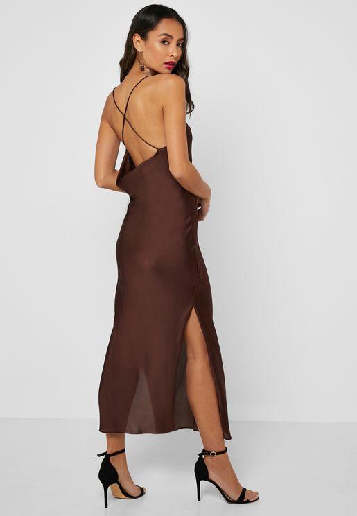f7625a79b7c Side Split Satin Plunge Dress