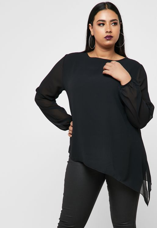 Asymmetrical Hem Sheer Detail Top