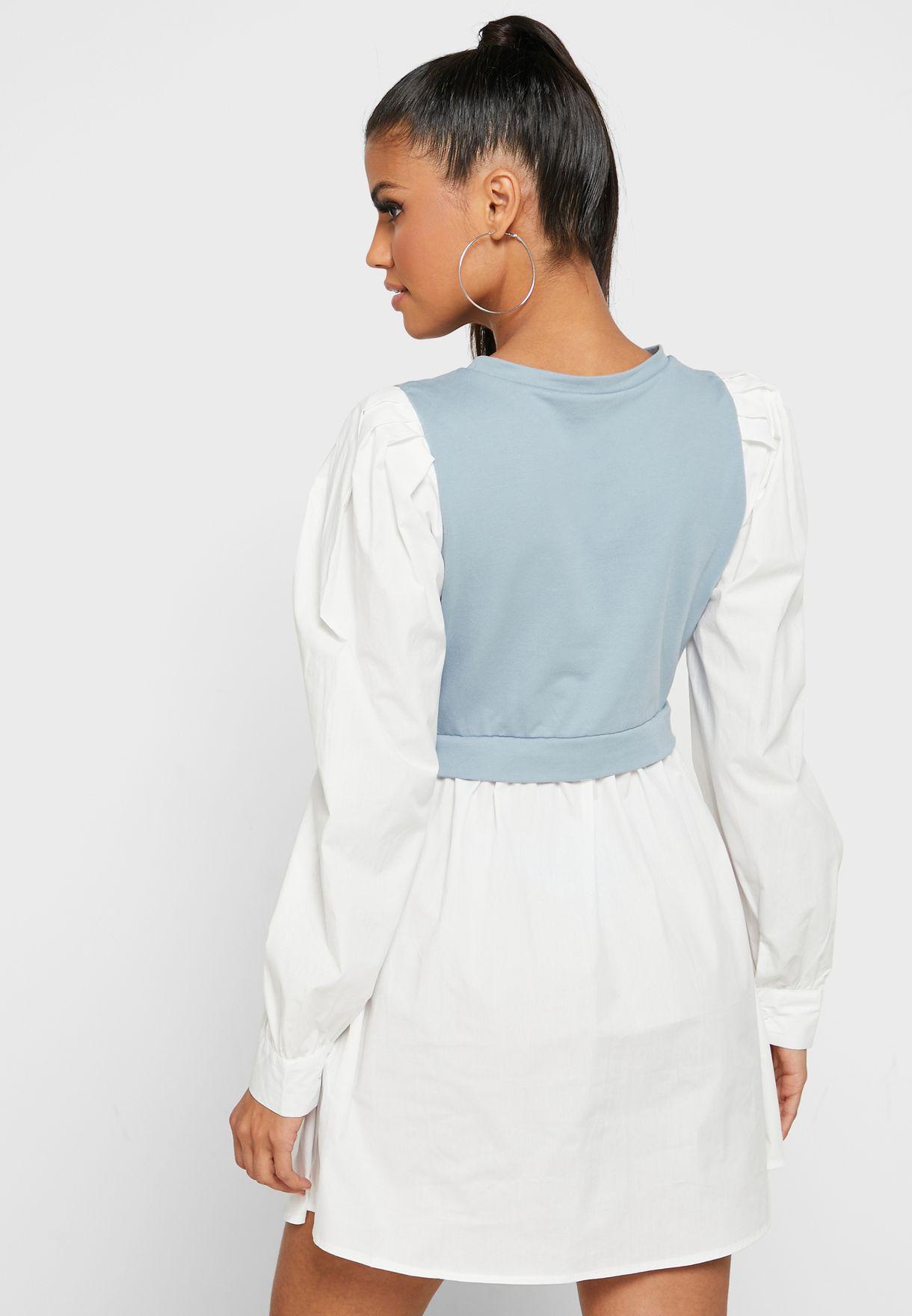 Puff Sleeve 2 In 1 Dress