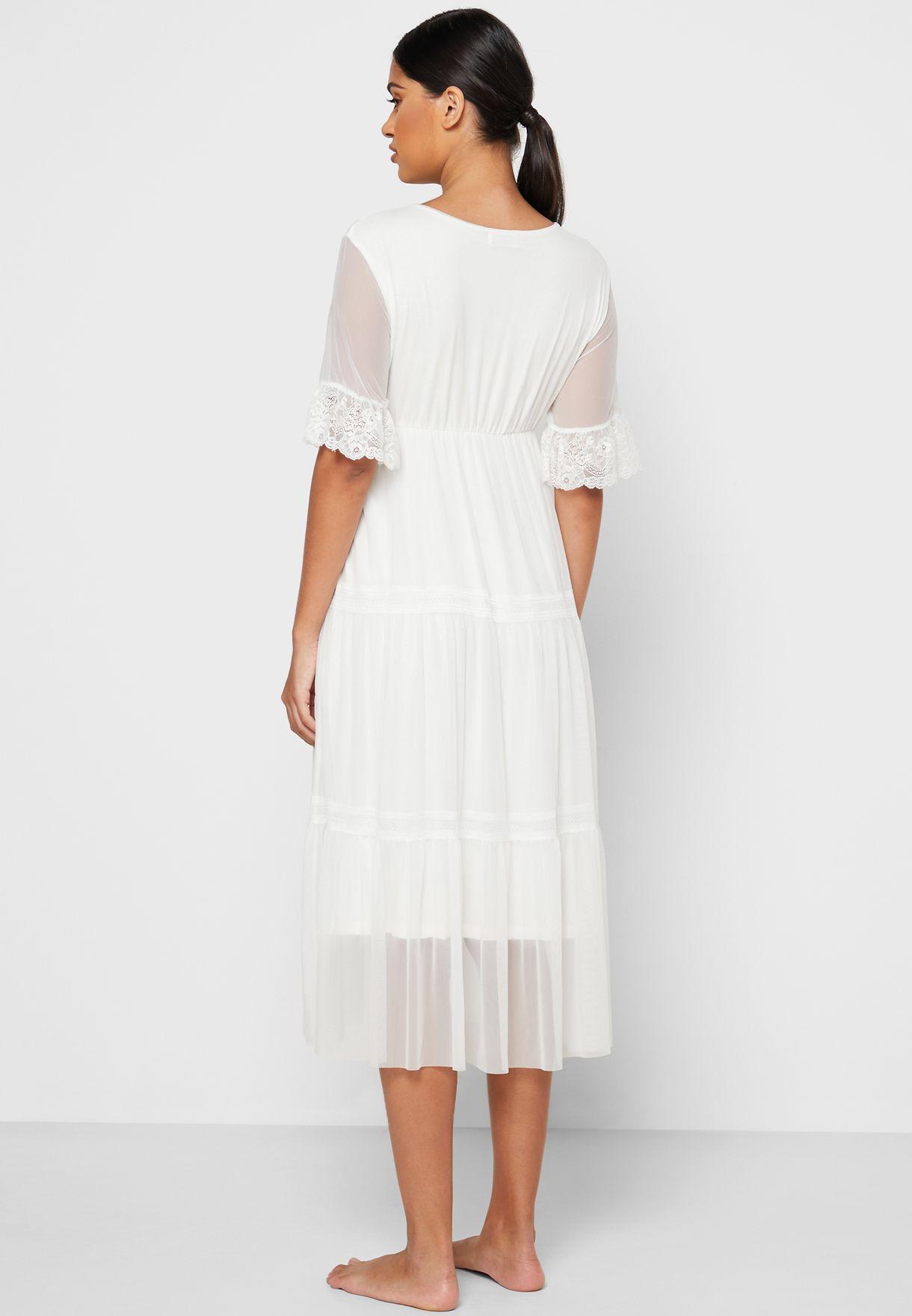 Lace Trim Tiered Nightdress