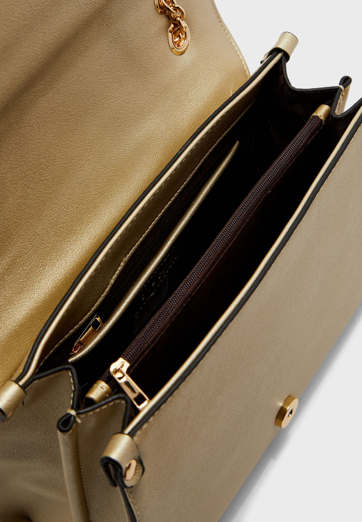 Flap Over Chain Detail Clutch