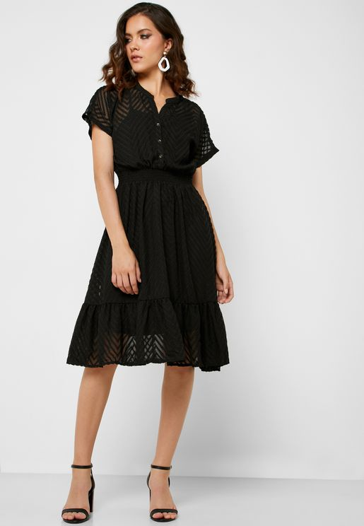 Ruffle Hem Sheer Dress
