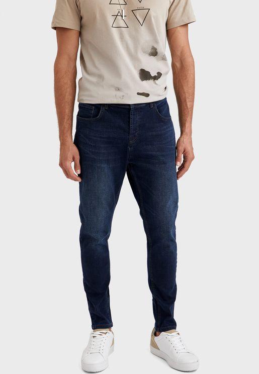 Mid Wash Slim Fit Jeans