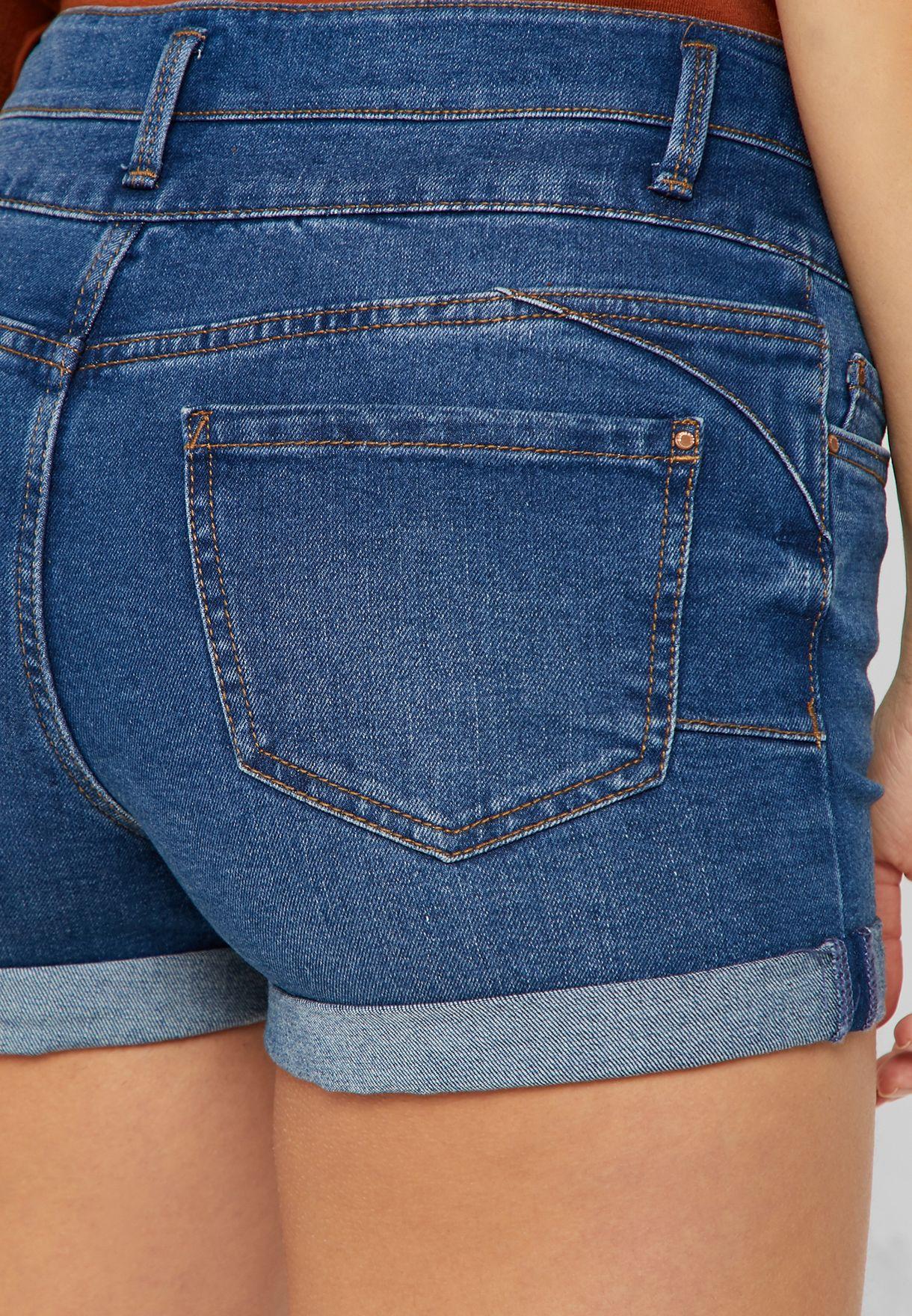 Button Detail Denim Shorts
