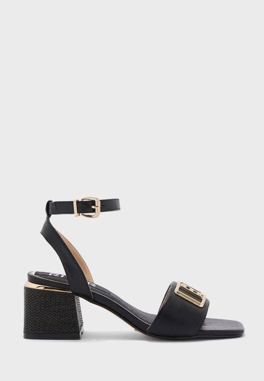 Branded Block Heel Sandal