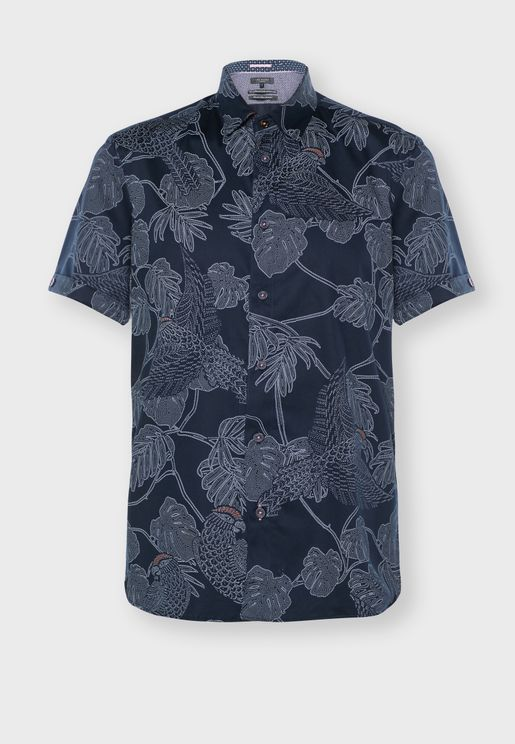 Parrot & Leaf Print Relaxed Shirt