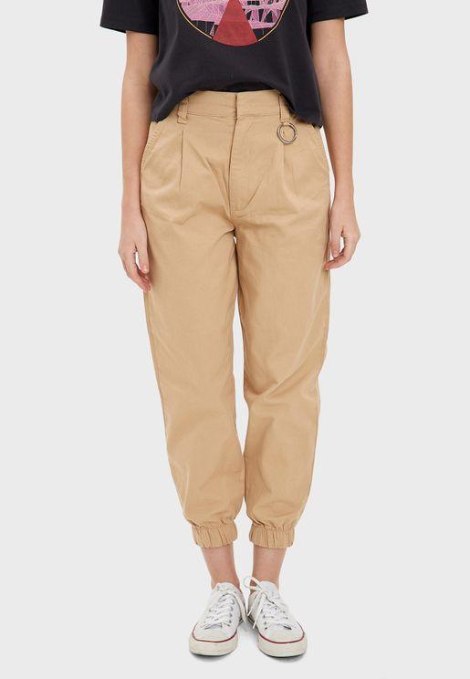 Cuffed High Waist Pants