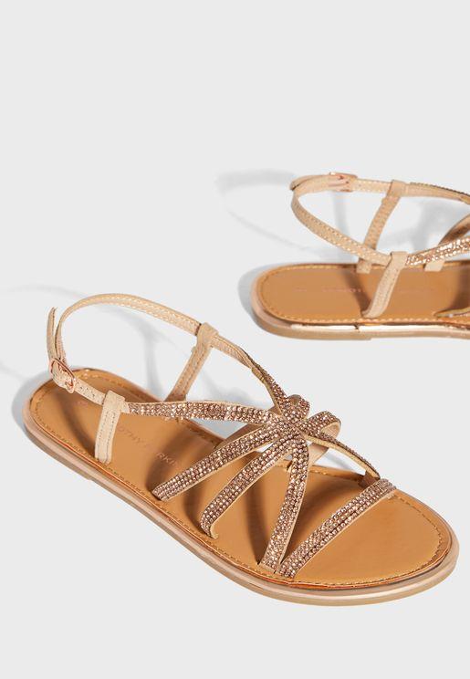 Figaro Embellished Flat Sandal
