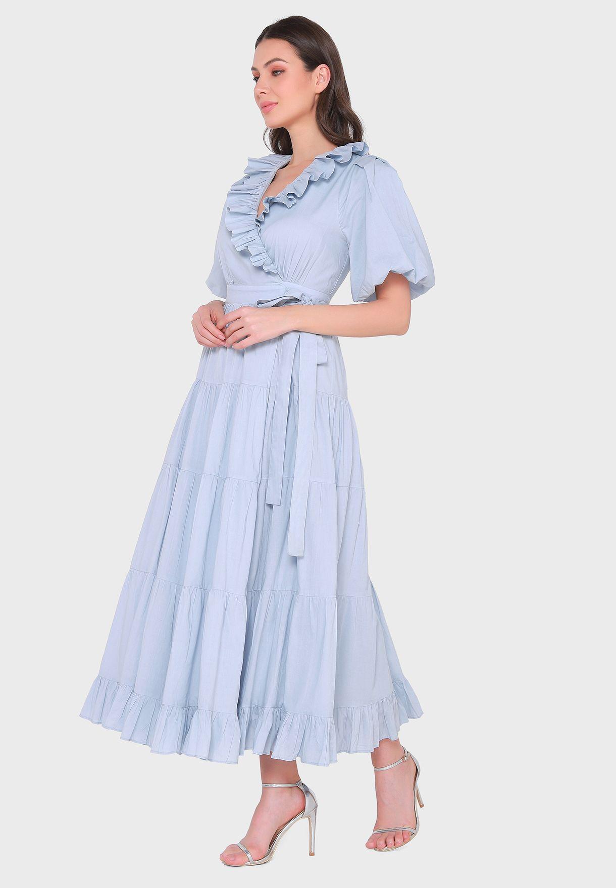 Pleated Ruffle Detail Wrap Dress