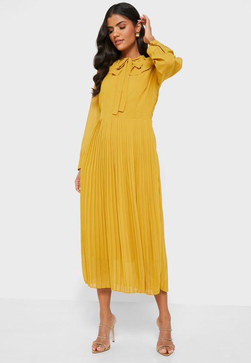 Pleated Skirt Tie Neck Shirt Midi Dress