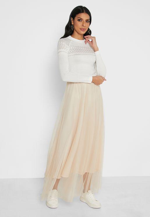 Elastic Waist Tulle Skirt