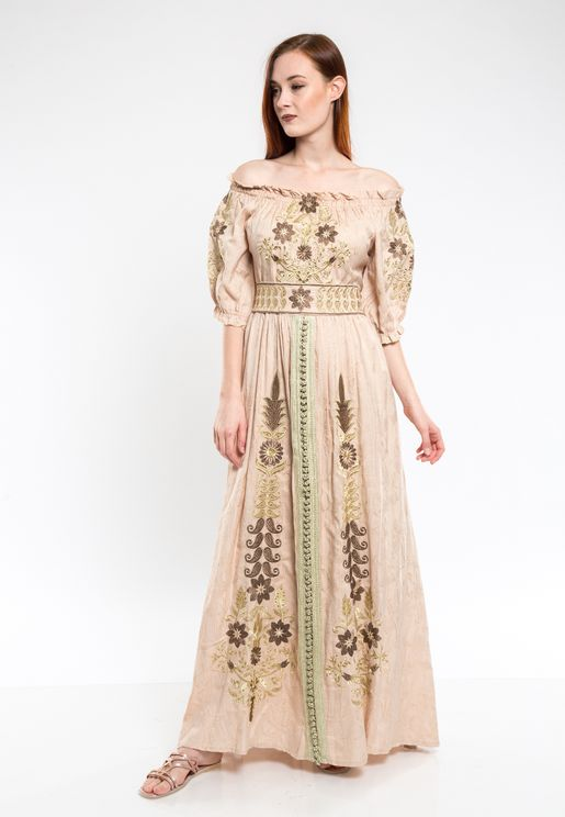 Puff Sleeve Embroidered Jalabiya