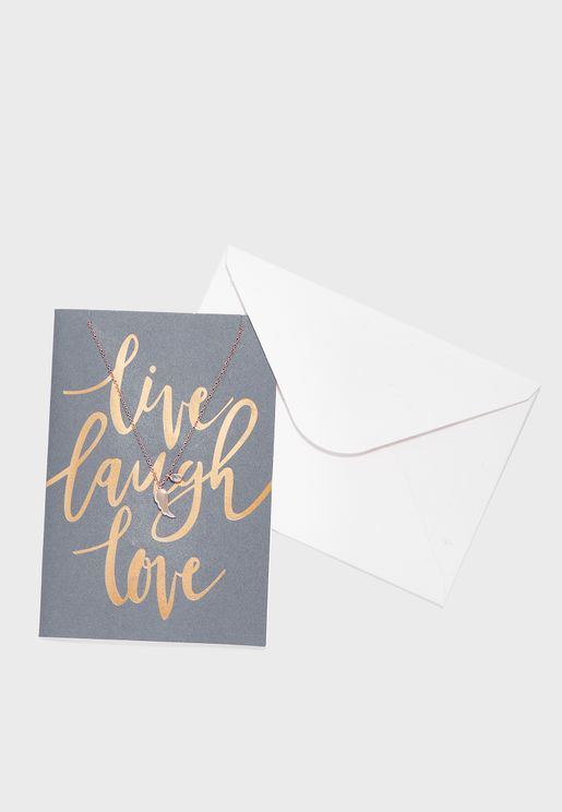 Live Laugh Love Cluster Necklace With Giftcard