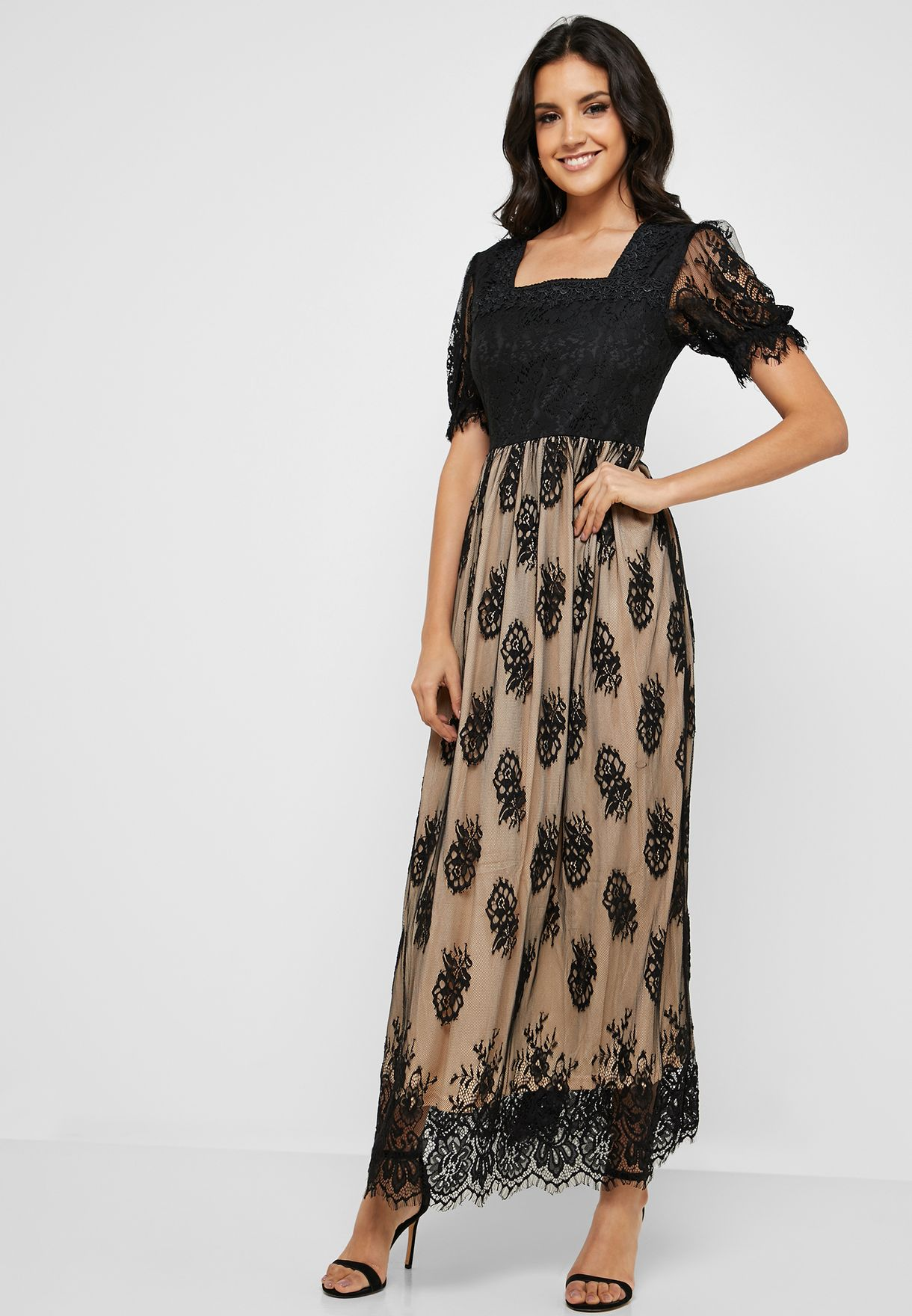 782da744c9f Shop Rina multicolor Lace Overlay Maxi Dress 01011930905 for Women ...