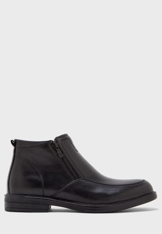 Zip Up Faux Leather Boots