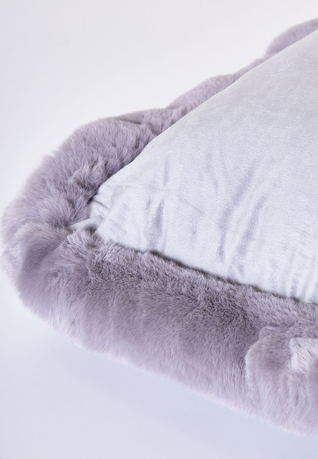 Fur Lined Edge Grey Cushion