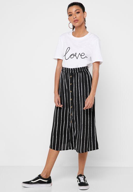 Button Detail Striped Skirt