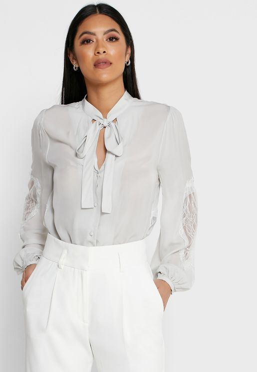 Liza Tie Sleeve Lace Detail Shirt
