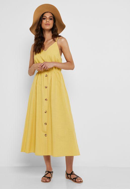 Linen Button Down Midi Dress