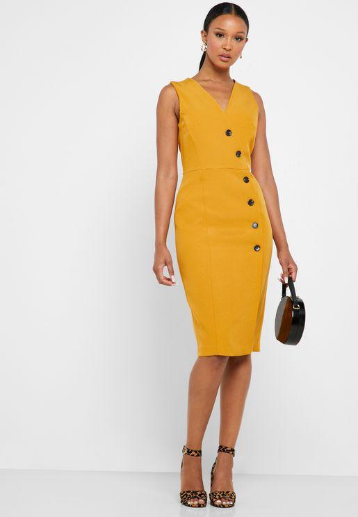 V-Neck Button Detail Dress