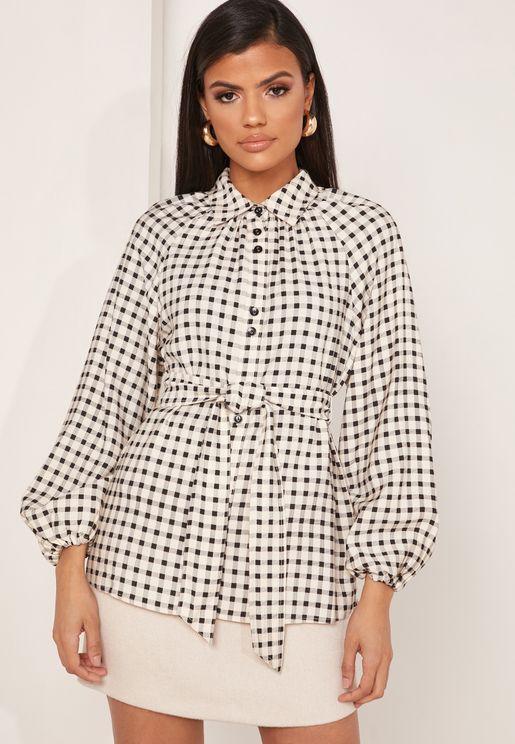 قميص بطبعات مربعات (كاروهات) باربطة خصر