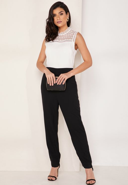 Lace Detail Ruffle Jumpsuit