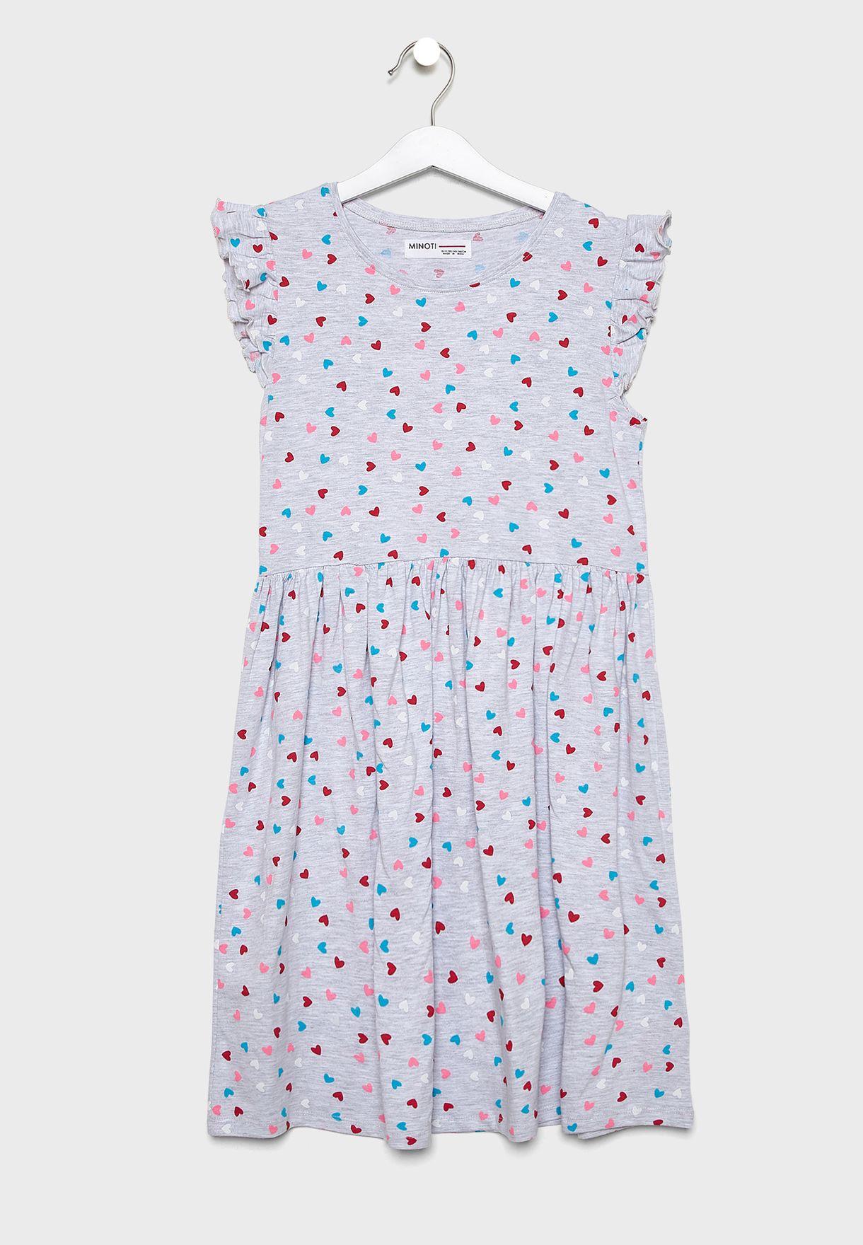 Teen Ruffle Trim Printed Dress