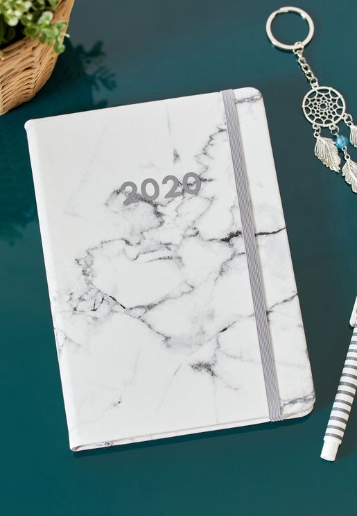 A5 2020 White Marble Weekly Diary