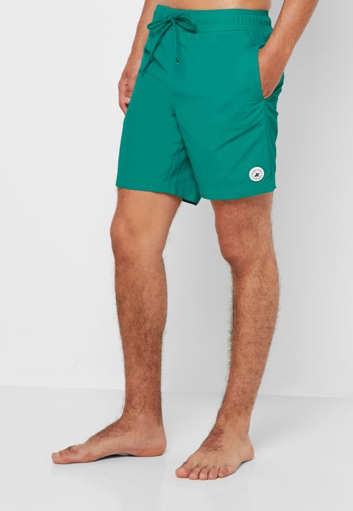 Nylon Solid Swim Shorts