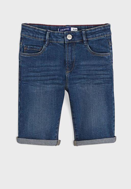 Kids Roll Hem Denim Shorts