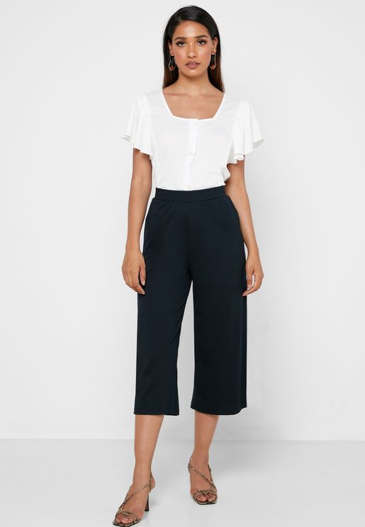 Ribbed Culotte Pants