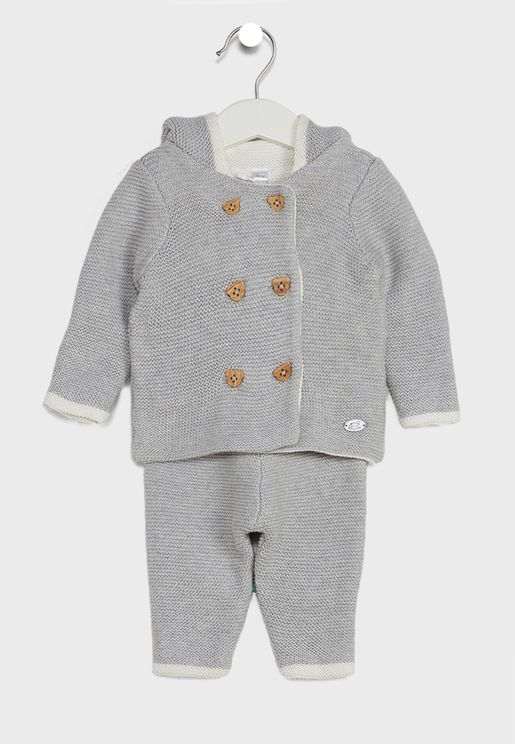 Infant Hooded Knitted Jacket And Trouser Set