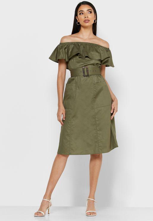 Bardot Belted Dress