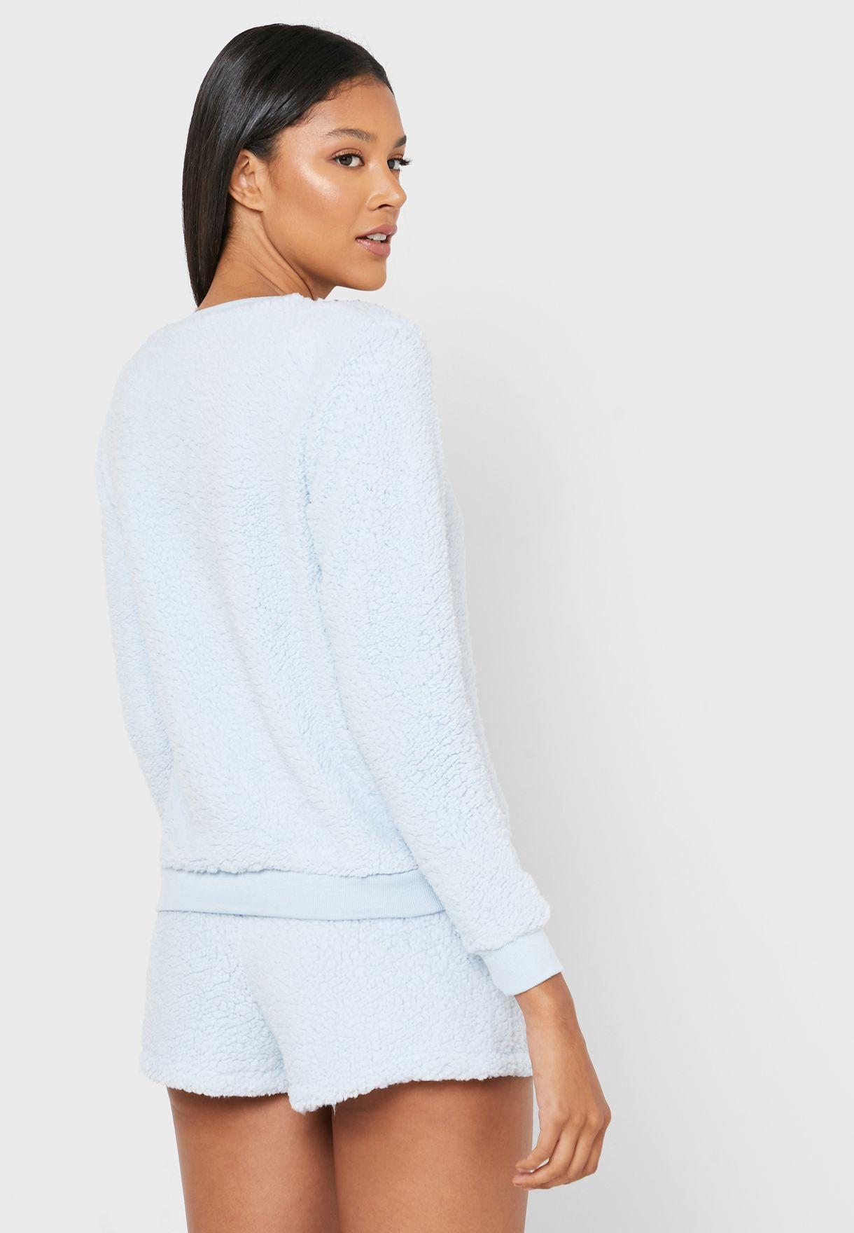 Fluffy Sweatshirt & Shorts Set