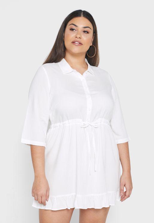 قميص طويل بنمط فستان مع أزرار واربطة