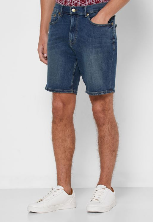 Light Wash Roll Hem Shorts