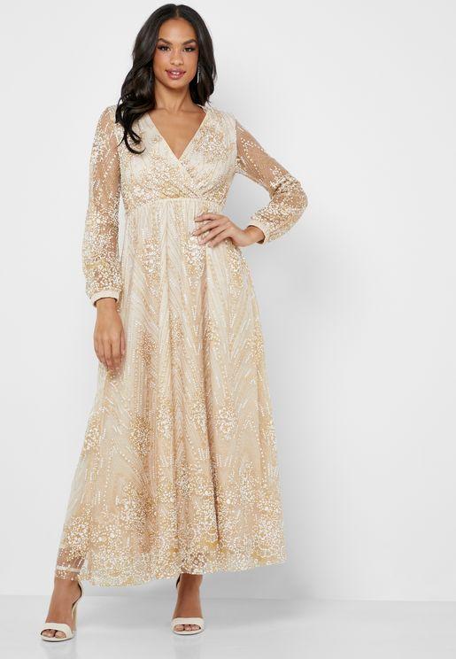 Embellished Wrap Front Maxi Dress