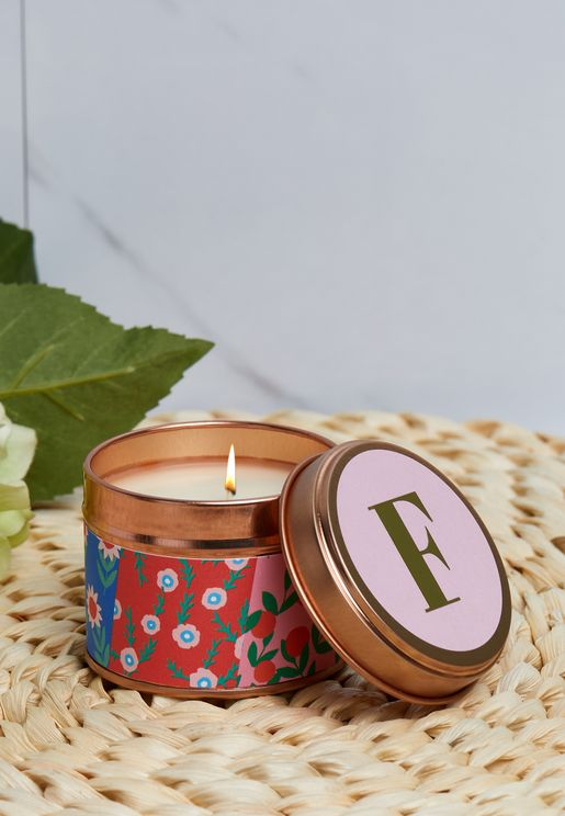F Initial Floral Candle