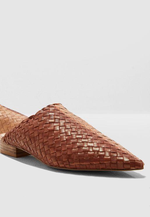 حذاء جلد اصلي محبوك