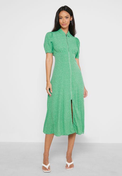 Puff Sleeve Ditsy Print Dress