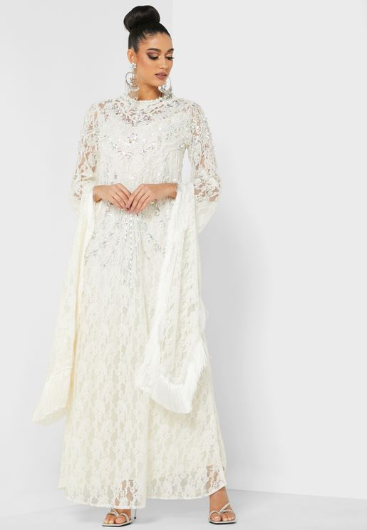 Embellished Asymmetric Sleeve Kaftan
