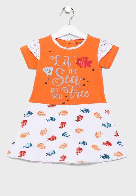 Little Graphic Dress + Pantie Set