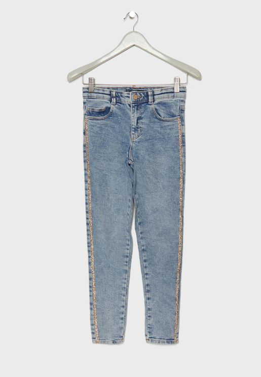 Kids Glitter Side Striped Jeans