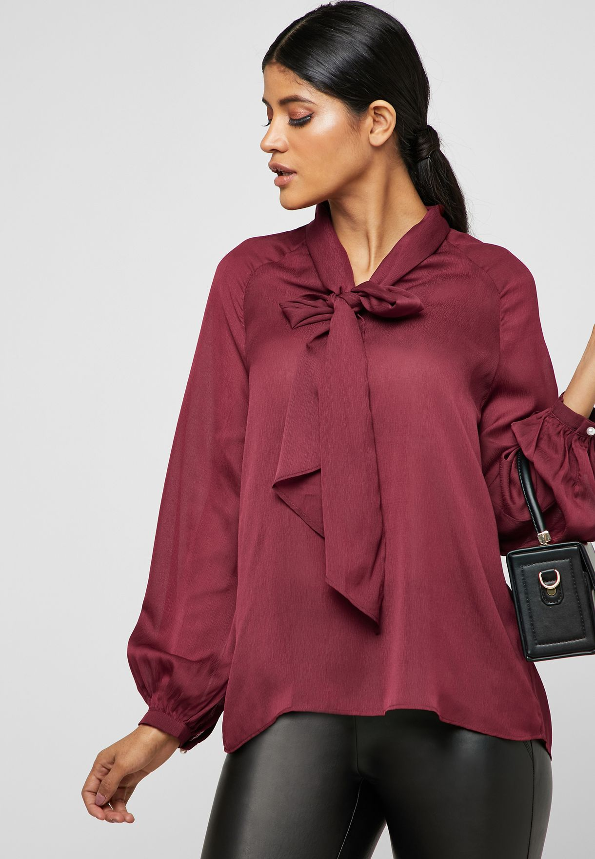 846bb739e Shop Ella burgundy Tie Neck Top 5SY057 for Women in Qatar - 13288AT11GBP