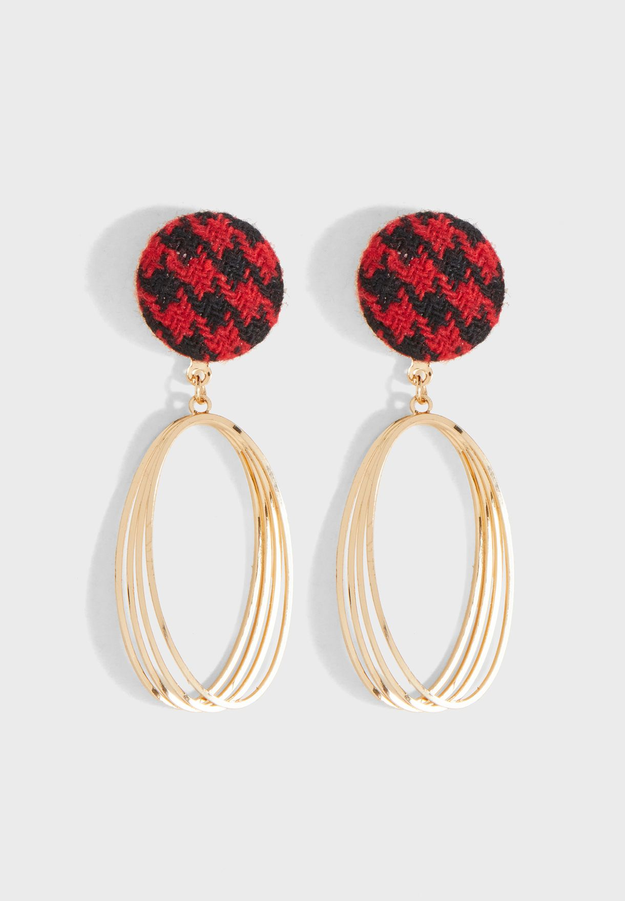 Button Detailed Ring Earrings
