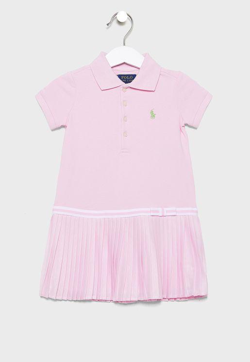Kids Ruffle Hem Polo Dress