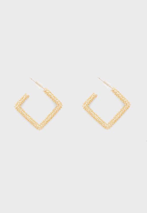 Textured Square Hoop Earrings