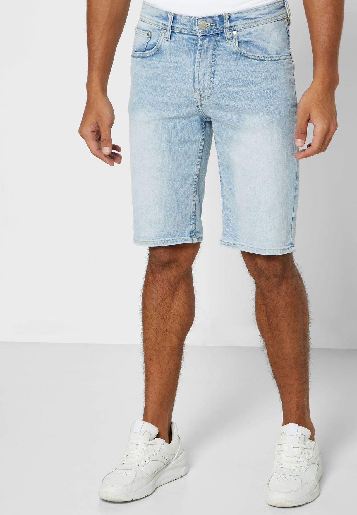 New Look Tall Blue Roll Hem Denim Shorts