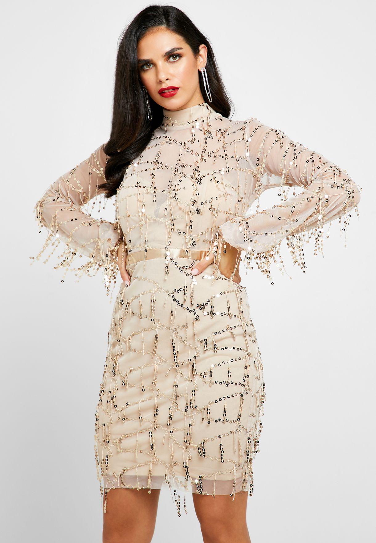 Drop Sequin High Neck Mini Dress