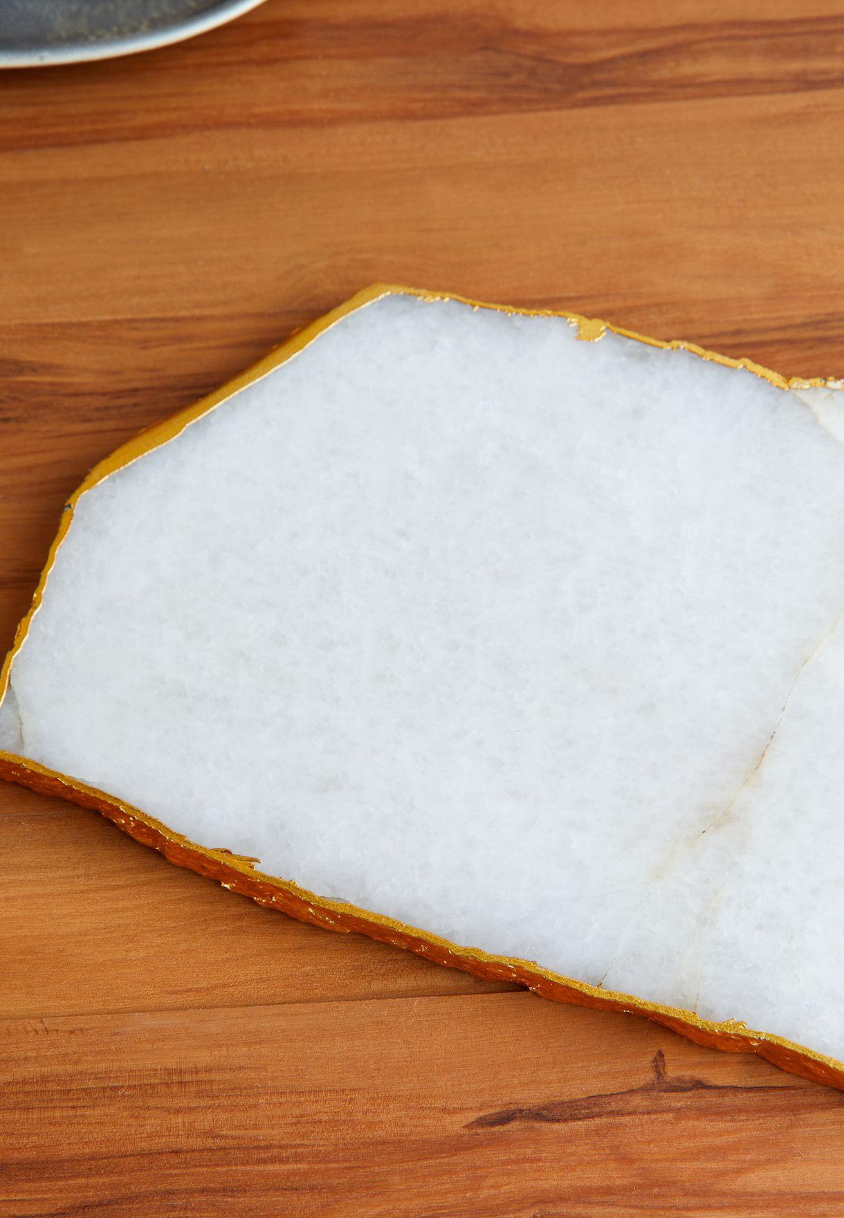 White Quartz Serving Platter With Gold Detailing